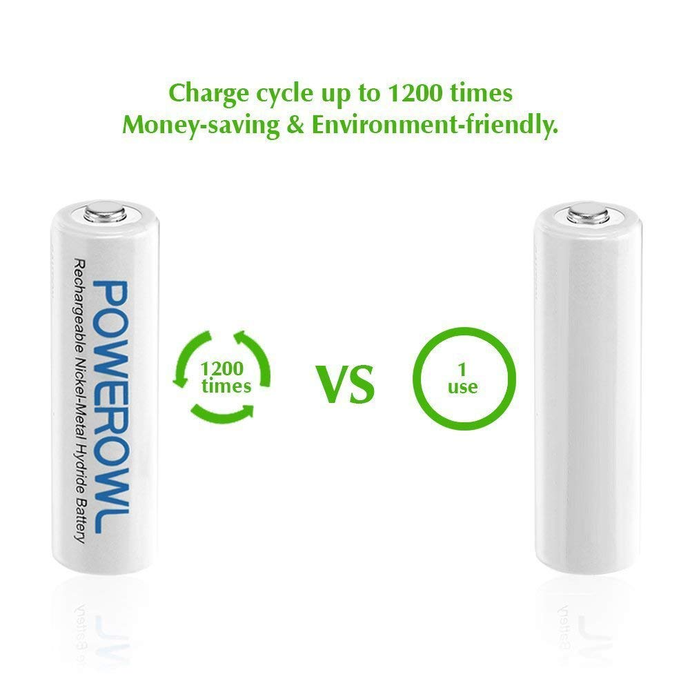 Batterien AA POWEROWL Vorgeladene NI-MH AA Akkus - Akkubatterien (geringe Selbstentladung, 1200 Zyklen, 2100mAh) 16 Stck