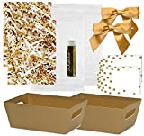 Pursito Gift Basket Making Kit Includes: Metallic Gold Market Tray, Crinkle Cut Paper, Cellophane Bag, Gold Satin Bow & Gift Tag - 2 Total Sets for Wedding, Christmas & Birthday with Bonus Lip Balm