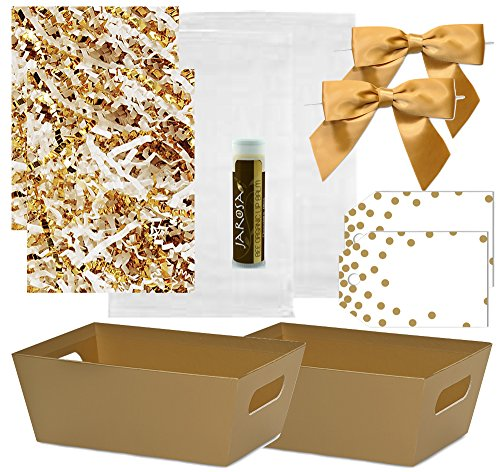 Pursito Gift Basket Making Kit Includes: Metallic Gold Market Tray, Crinkle Cut Paper, Cellophane Bag, Gold Satin Bow & Gift Tag - 2 Total Sets for Wedding, Christmas & Birthday (Dots Gift Basket)