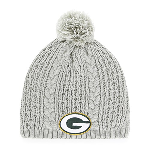 NFL Green Bay Packers Women's Valerie OTS Beanie Knit Cap with Pom, Gray, Women's