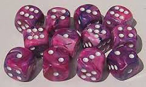 Chessex Dice d6 Sets: Festive Violet with White - 16mm Six Sided Die (12) Block of Dice