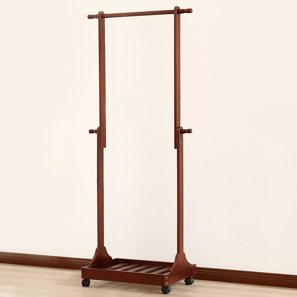 Brown LIANGJUN Floor Standing Hat and Coat Adjustable Height for Easy Mobile Shelves Wood Length 64cm Width 38.5cm Height 132cm  150cm Two color Optional Jacket Scarf Porch (color   Wood color)