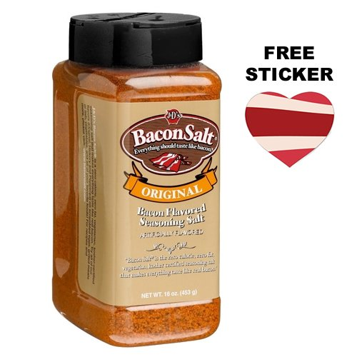 J&D's Big Pig Original Bacon Salt (Jumbo 16 Ounce Bottle + Sticker) - Low Sodium Bacon Flavored Seasoning Salt + Bacon Heart Sticker by Bacon Addicts (Image #2)
