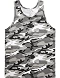 Hat and Beyond KS Mens Tank Top Muscle Fit Active Exercise Sleeveless Shirt (Medium, WhiteCamo)