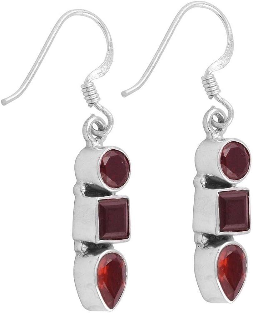 DV Jewels Red Garnet Gemstone Dangle Earring