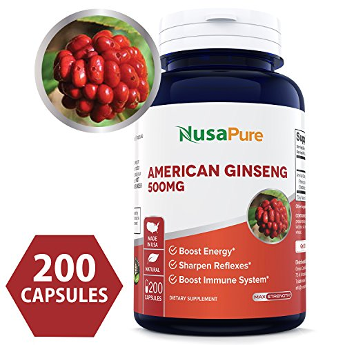 Best American Ginseng 500 mg 200 Capsules (NON-GMO & Gluten Free) – Supports Focus, Energy & Immunity Booster, Panax Ginseng Root extract for Men & Women – 100% MONEY BACK GUARANTEE!