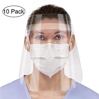 Protecci/ón facial anti-saliva anti-salpicaduras para hombres y mujeres Cubierta facial para boca y nariz Alittle 10pcs Visera protectora reutilizable en blanco