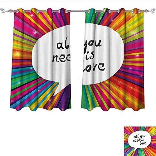 Qinqin-Home Blackout Living Room/Bedroom Window Curtains Colorful All You Need is Love Inspirational Quote Speech Bubble Hippie Retro Poster Print White Blackout 2 Panels (W72 x L45 -Inch 2 Panels) ()