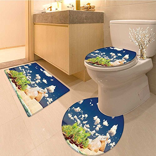 3 Piece Extended bath mat setIsland Dreamy Cloudy Sky in Exotic Seyschelles with Golden Sandy Beach Day Hot Photo Very Absorbent Bathroom Bath Mat Contour Rug
