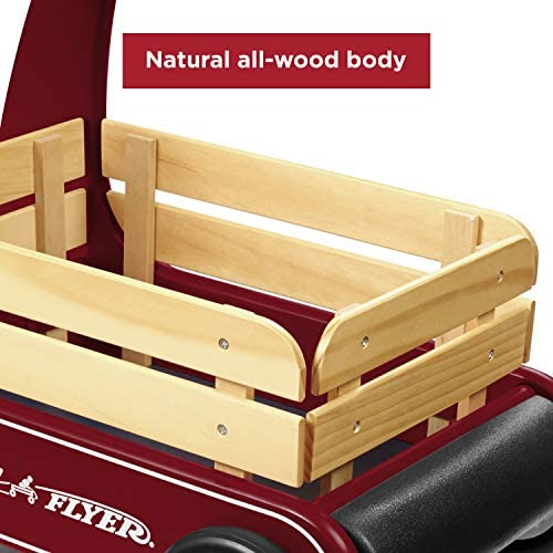 51LZUDmNKZL. AC - Radio Flyer Classic Walker Wagon, Sit To Stand Toddler Toy, Wood Walker, Red, Model Number: 612s