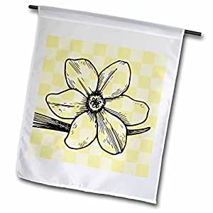 PS Flowers - Yellow Checkered Floral Print - Flowers - Art - 18 x 27 inch Garden Flag (fl_55719_2)