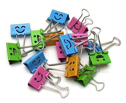 40PCS//Box 19/mm Smile metal Paper Binder clip organizer ufficio colori assortiti