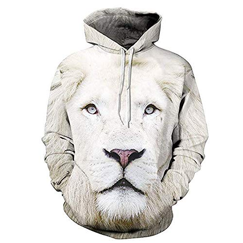 Unisex 3D Print Hooded Sweatshirt Casual Pullover Hoodie Kangaroo Pockets(White Lion-M) ()