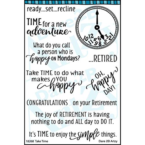Dare 2B Artzy Take Time Clear Cling Rubber Stamp Set Retirement 19268