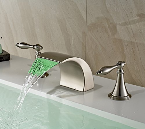 Rozin Brushed Nickel Finish LED Colors Waterfall Bathroom Sink Faucet Deck Mounted Basin Mixer Tap (Brushed Nickel Finish Led)