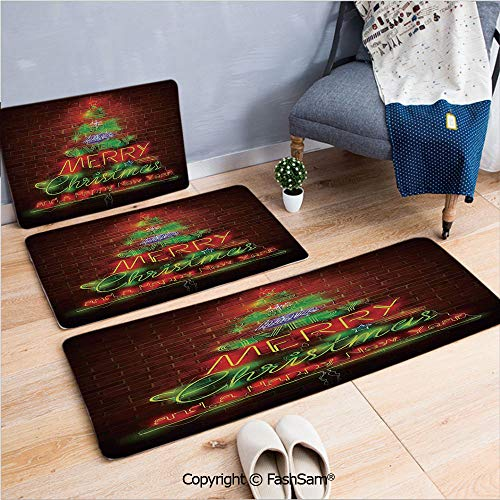 (FashSam 3 Piece Flannel Doormat Neon Lights Sign Have a Merry Xmas and Happy New Year Phrase Against The Wall for Kitchen Rugs Carpet(W15.7xL23.6 by W19.6xL31.5 by W35.4xL62.9) )