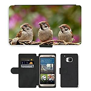 Super Stella Cell Phone Card Slot PU Leather Wallet Case // M00103739 Sparrows Bird Young Foraging Garden // HTC One M9