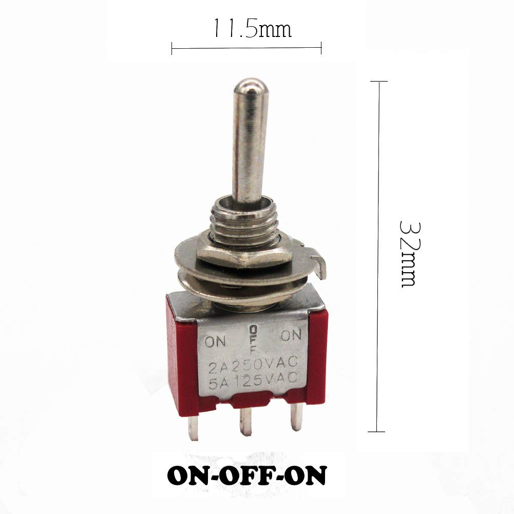 mxuteuk 10pcs MTS-103 3 Terminal 3 Position SPDT Mini Miniature Toggle Switch Car Dash Dashboard ON//OFF//ON 5A 125V 2A 250V