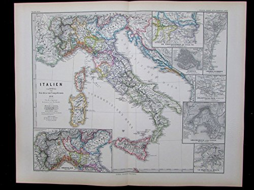 Italy 1492-1797 Malta harbor inset Venice Genoa plan 1880 antique Historical - Maps Inset
