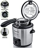 Ovente FDM1091BR Mini Deep Fryer with Removable Basket, Stainless Steel, Adjustable Temperature Control, Non-Stick Interior, Personal Size, Nickel Brushed (FDM1