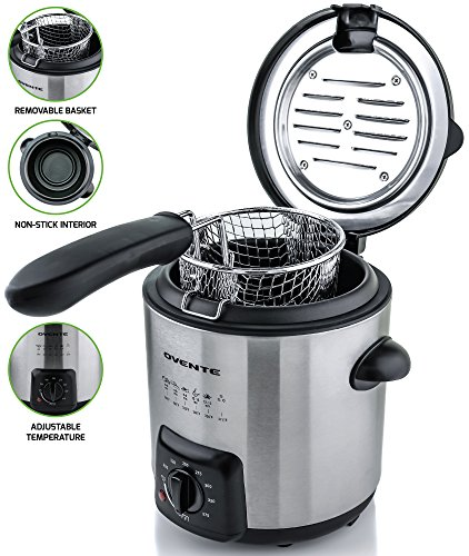 Ovente Mini Deep Fryer with Removable Basket, Stainless Steel, Adjustable Temperature Control, Non-Stick Interior, Personal Size, Brushed Nickel (FDM1091BR)
