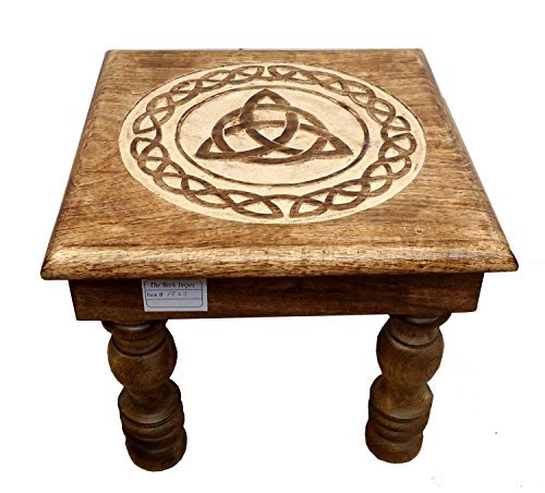 Icrafts Wooden Stool Multiutility Hand Carved with Lightweight Home Kids Room Furniture Decor