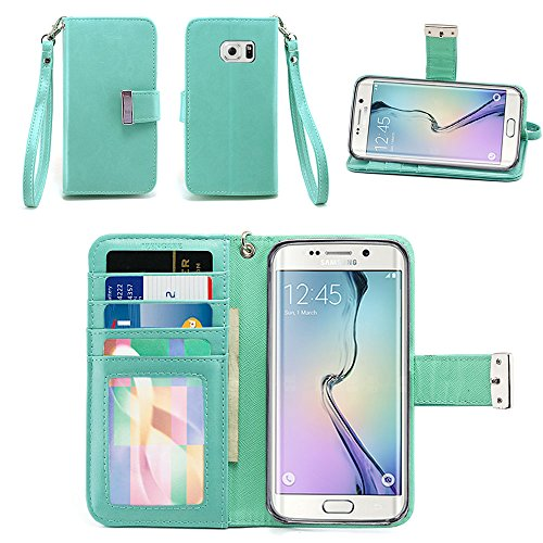 Samsung Galaxy S6 Edge Case - IZENGATE [Classic Series] Wallet Cover PU Leather Flip Folio with Stand (Mint)