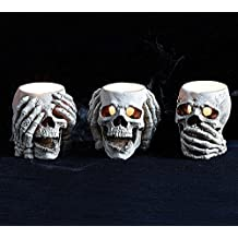 Burton and Burton Halloween Decoration See No, Hear No, Speak No Evil Skull Candle Holder Set of 3