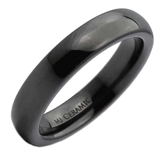 Amazon Com 4mm Beautiful Black Ceramic Wedding Ring Classic High
