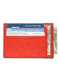 Banuce Cowhide Leather Slim Credit Card Holder Organizer Case Wallet(Watermelon Red)