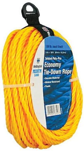 L Yellow  Twisted  Polypropylene  Rope x 50 ft Dia Wellington  1//4 in