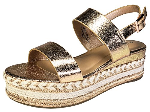 (BAMBOO Women's Single Band Espadrilles Platform Sandal with Ankle Strap, Rose Gold, 9.0 B (M) US )