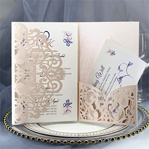 Soft rose whole set MegOK Le Parti de Fleurs de Laser d'invitations de Mariage d'invitation Invite Le Papier de Perle l'impression Faite sur Comhommede Multi Couleurs, Blanc, Ensemble Encravater
