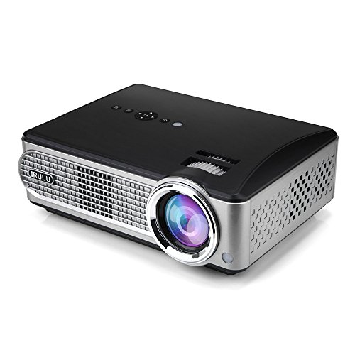 iRULU Video Projector Support 1080P with HDMI AV for Multimedia Home Cinema Theater TV Laptop Game Smartphone (Black + Iron Grey)