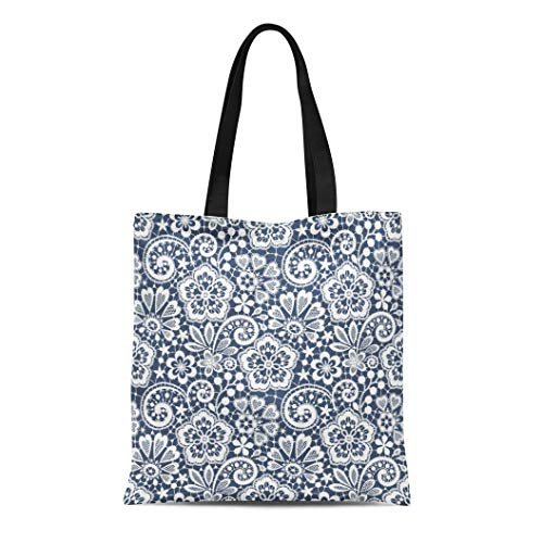 Semtomn Canvas Tote Bag Blue Pattern Lace Gray Christmas Outline Heart Swirl Toile Durable Reusable Shopping Shoulder Grocery Bag