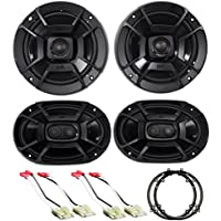 Front+Rear Polk Audio Speaker Replacement Kit+Adapters For 2003-07 Honda Accord