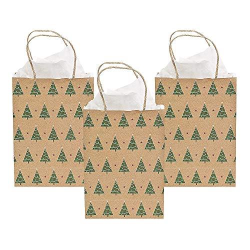 - Christmas Tree Kraft Gift Bags- 12 Pack - 9 Inch Medium