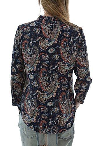 chemisier only stusmart 7/8 half plack shirt aop bleu
