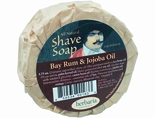 Herbaria Shaving Soap Bay Rum and Jojoba Oil all natural with essential oils 3.5 oz
