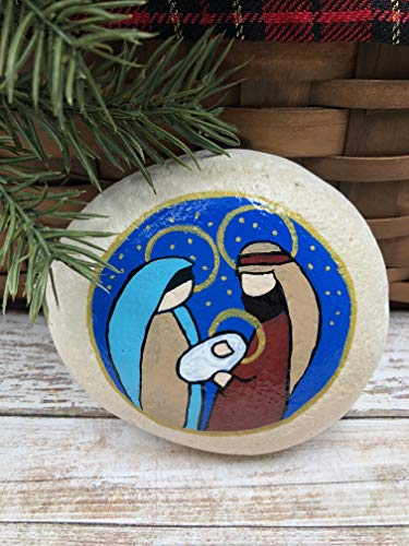 Holy Family Nativity Hand Painted Paperweight