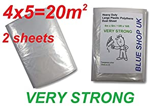2 x 600g weight 2x 06kg very strong 4m x 5m heavy duty large plastic polythene dust sheet 13ft x 16ft painting masking floor windows odorless 2 x