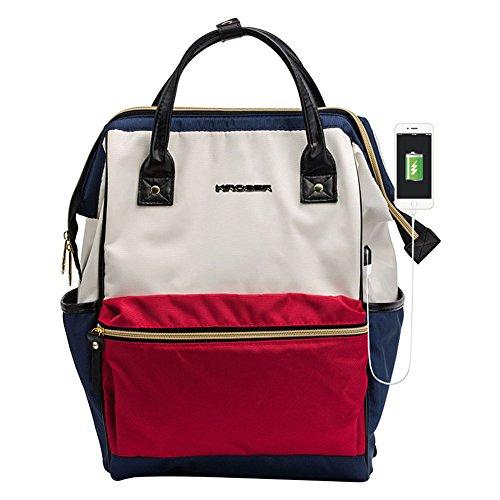 KROSER Laptop Backpack 14.1 Inch Stylish Computer Backpack School Backpack Casual Daypack Laptop Bag Water Repellent Nylon Business Bag Tablet With USB Port for Travel/College/Women/Men-Navy/Red/Beige by KROSER
