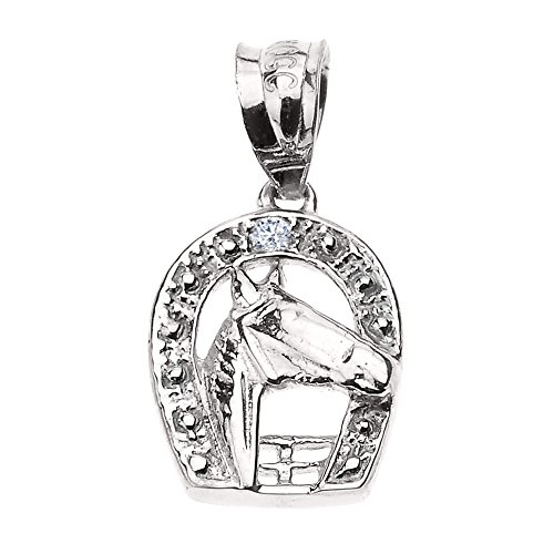 10k White Gold Lucky Diamond Horseshoe with Horse Head Pendant (White Gold Shoe Pendant)