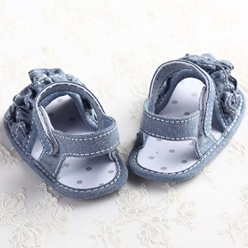 etrack-online bebé niñas princesa plisado suela suave verano sandalias rojo rosso Talla:6-12 meses azul
