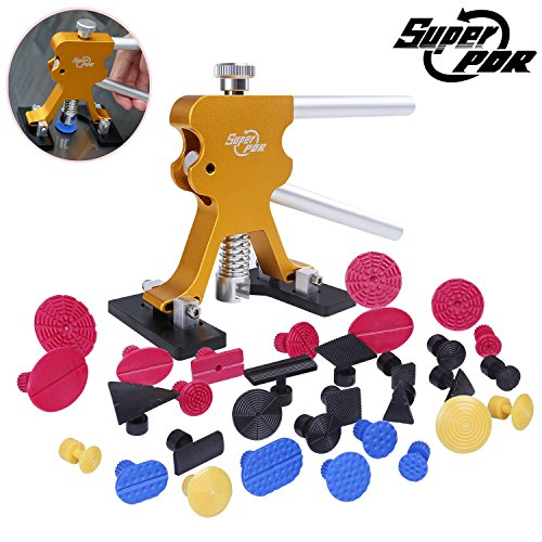 Super PDR 32Pcs NEW Automotive Body Paintless Dent Repair Tools Kit Glue Puller Golden Dent Lifter With PDR Glue Tabs