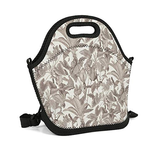 Work School Picnic Travel Outdoor Resuable Insulated Storage Neoprene Lunch Tote Bag For Adult Kids Heavy Duty Zipper tropical leaves wallpaper jungle leaf gray Cooler Box With Shoulder Strap