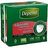 Depend Adjustable Underwear, Small/Medium, Case/72 (4/18s)