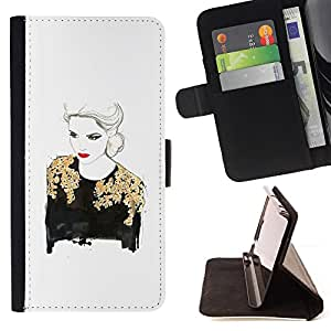 """For LG G4 Stylus / G Stylo / LS770 H635 H630D H631 MS631 H635 H540 H630D H542 ,S-type Labios de oro de señora Woman Rojo Blanco"""" - Dibujo PU billetera de cuero Funda Case Caso de la piel de la bolsa protectora"""