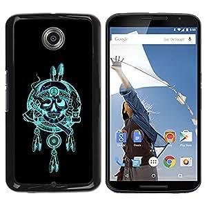 GOODTHINGS Funda Imagen Diseño Carcasa Tapa Trasera Negro Cover Skin Case para Motorola NEXUS 6 / X / Moto X Pro - Plumas jefe indio del cráneo hacha