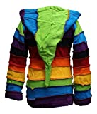 SHOPOHOLIC FASHION Children Pixie Colorful Hippie Striped Hoodie Hippy Boho Kids Sweater Jacket (2XL,Rainbow)